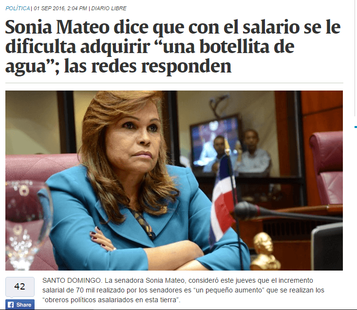 Artículo Diario Libre sobre Sonia Mateo