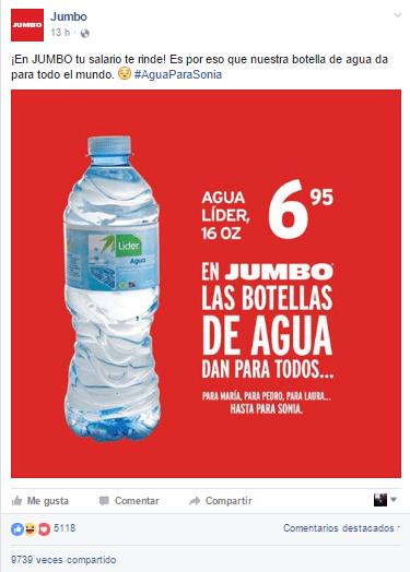 """Publicación del Jumbo de su botella de agua que sin querer queriendo, menciona a una tal """"Sonia""""."""