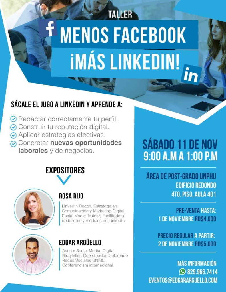 Taller-Charla-Seminario-LinkedIn-Edgar-Argüello-Rosa-Rijo